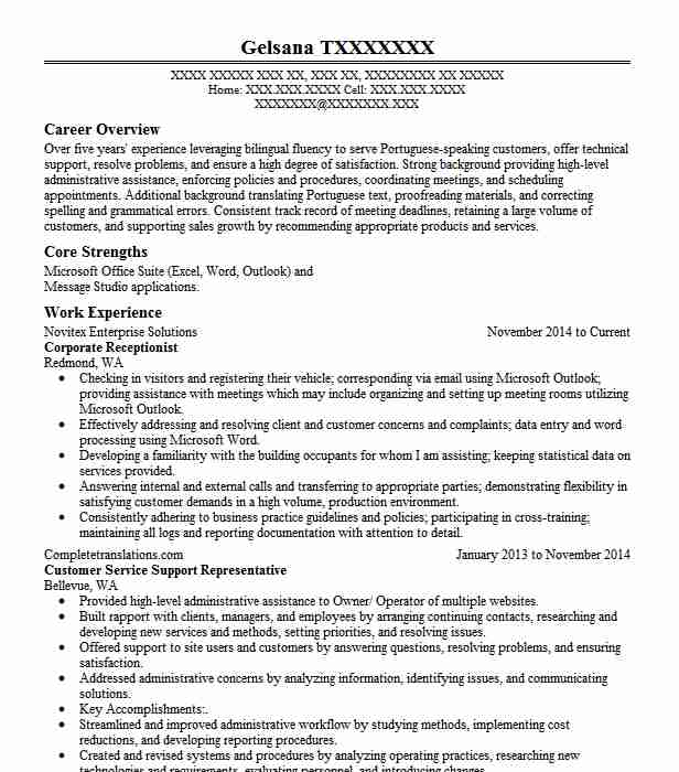Corporate Receptionist Resume Sample Livecareer