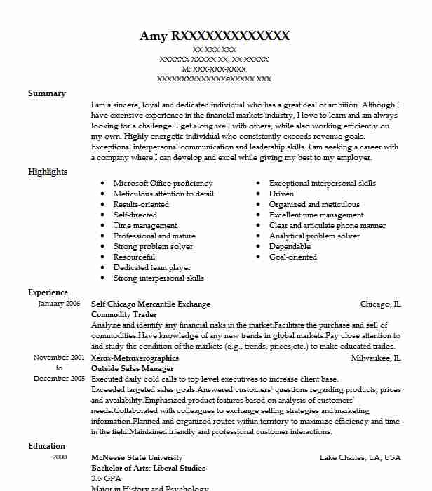 commodity trader resume sample