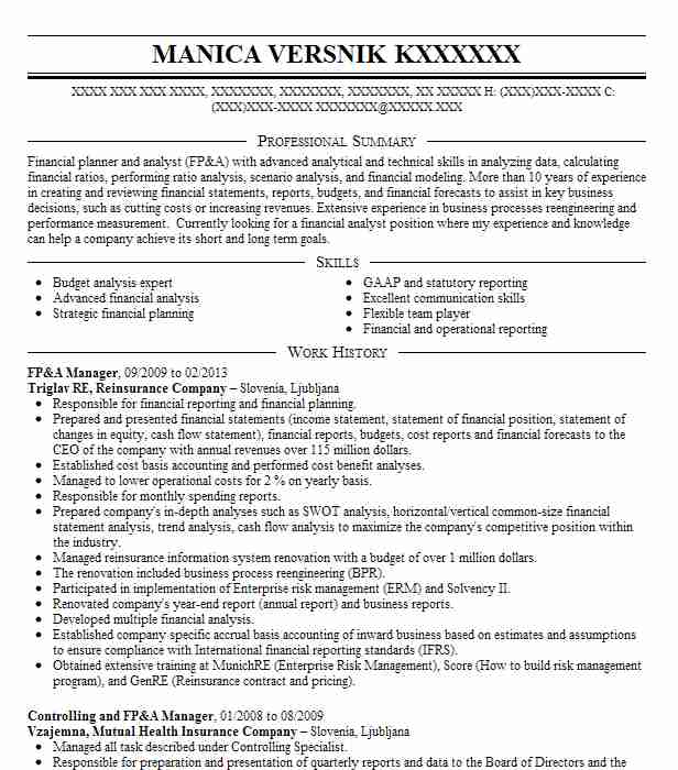 sr  fp u0026a manager resume example lojack corporation