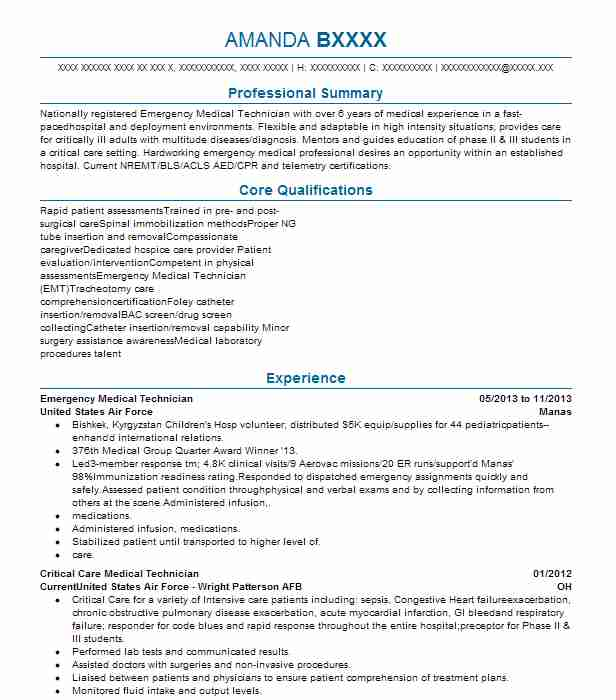 Emergency Medical Technician Resume Sample
