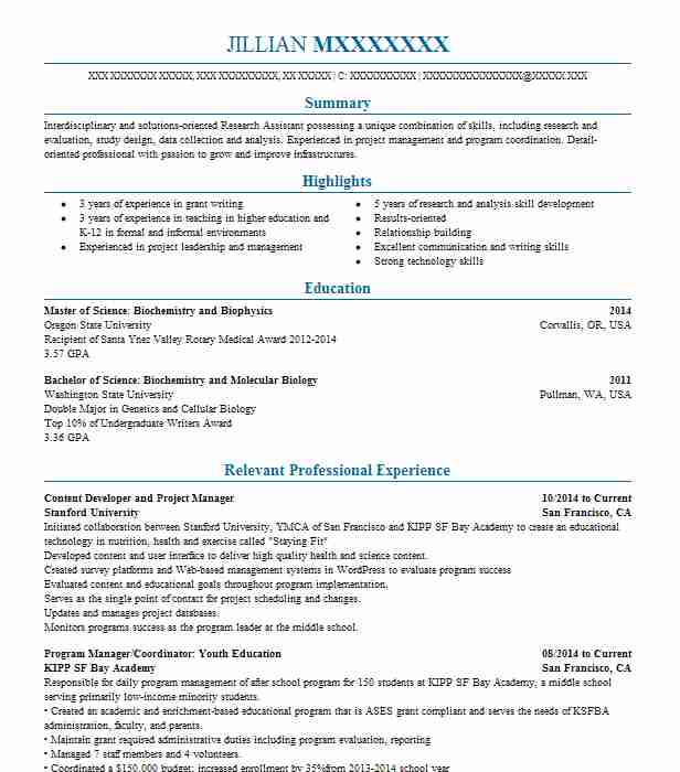 content developer and project manager - Resume Examples Exercise Science