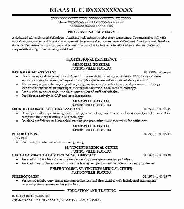 Pathologist Assistant Resume Sample Assistant Resumes