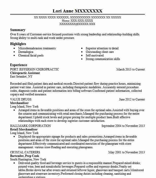 chiropractic assistant resume sample