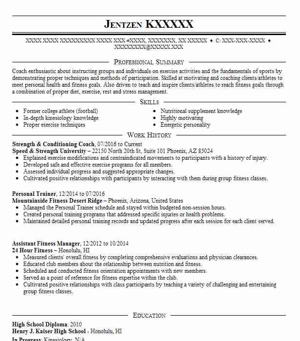 Strength And Conditioning Intern Resume Example University
