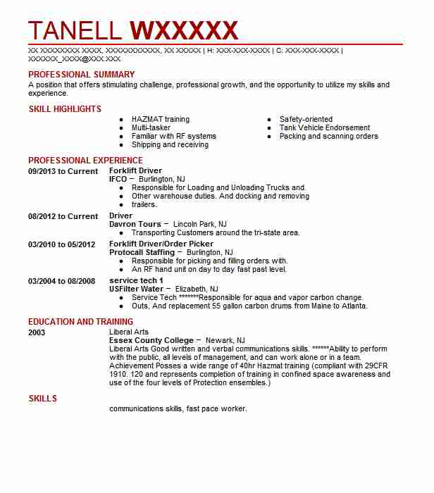 Forklift Driver IFCO Summary A Position