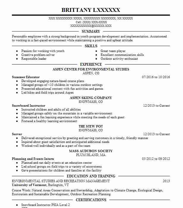 summer educator - Resume Environmental Science