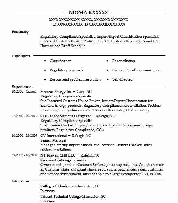 Regulatory Compliance Specialist Objectives | Resume Objective ...