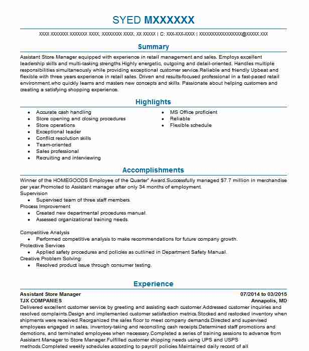 Assistant Store Manager Objectives | Resume Objective