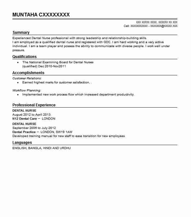 dental nurse resume sample