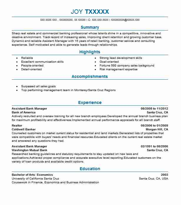 Assistant Bank Manager Resume Sample Banking Resumes Livecareer