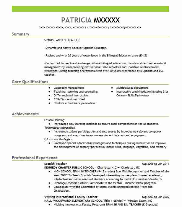 Spanish Teacher Resume Sample