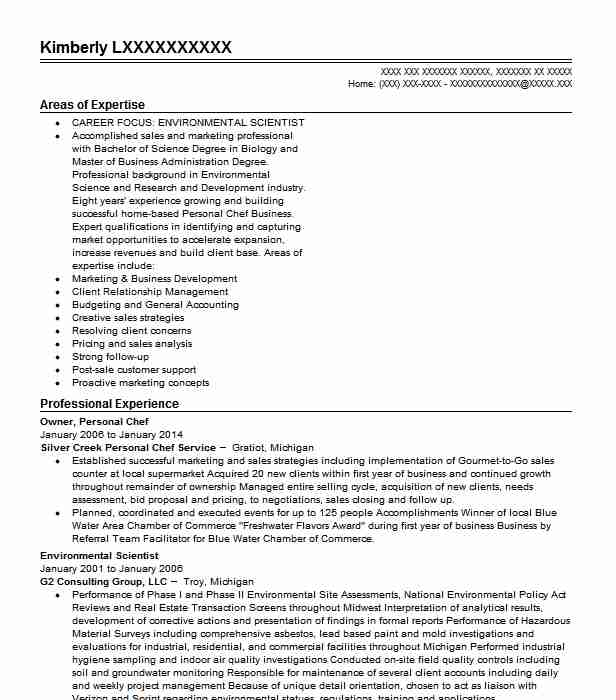personal chef resume example self employed