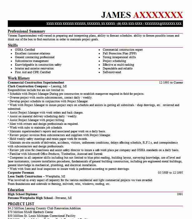 commercial construction superintendent resume sample