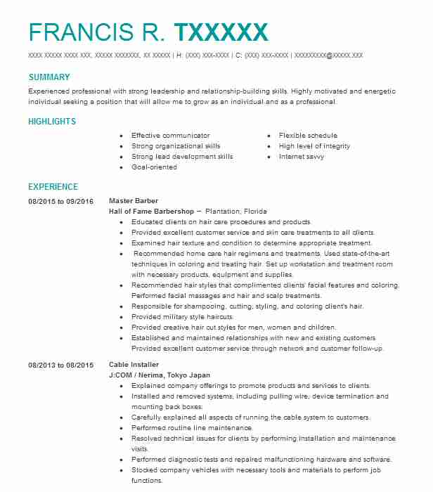barbers resume examples beauty and spa resumes livecareer