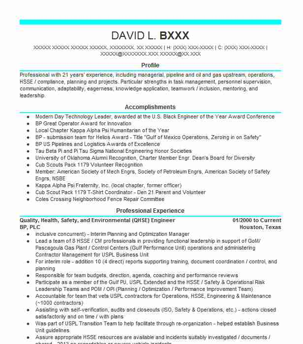 health  safety  and environmental co op resume example