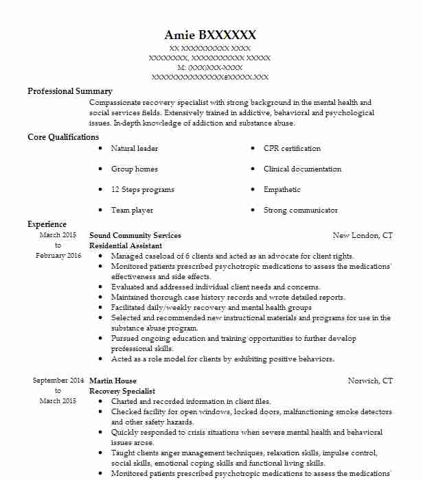 Residential Assistant  Qualifications And Skills For Resume