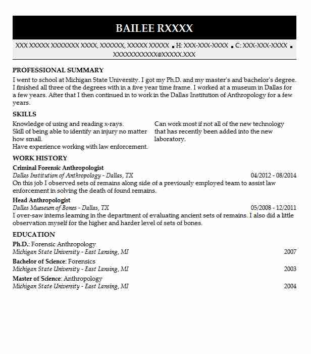 Forensic Anthropologist Resume Example Dpd Arlington Texas