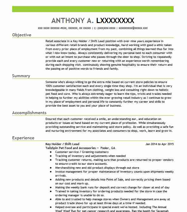 shift supervisor   key holder resume example starbucks