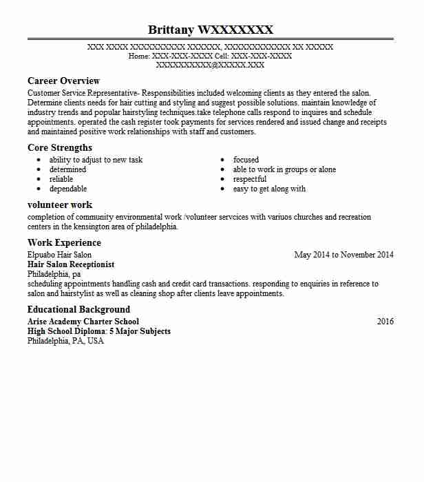 hair salon receptionist resume sample