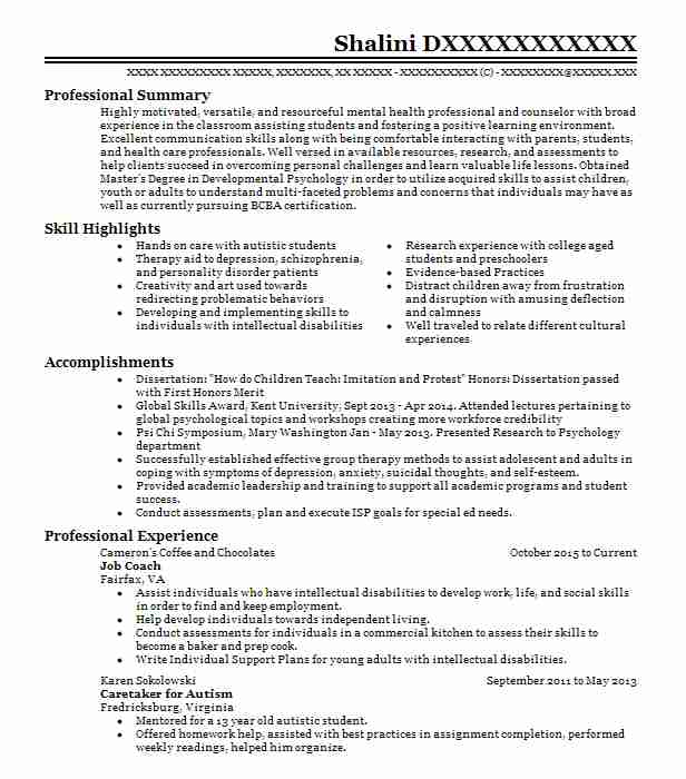 resume for psychology
