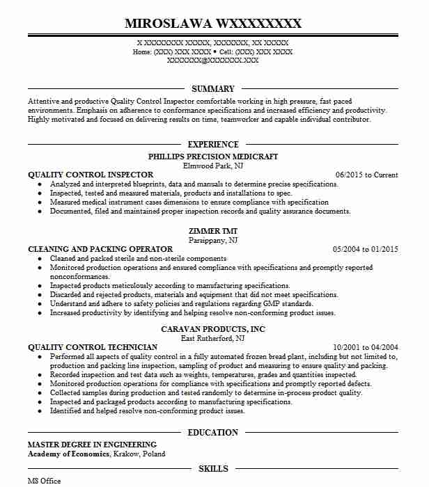 quality control inspector resume sample
