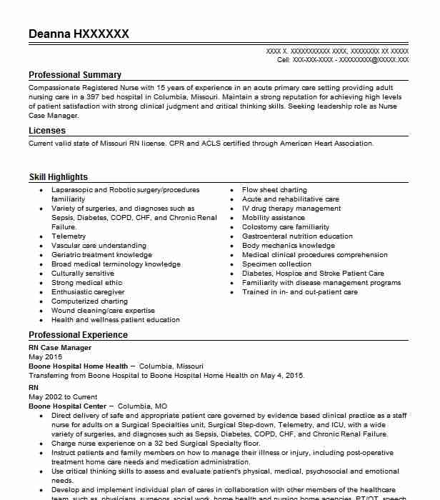 Rn Case Manager Resume Example Sapphire Nursing And Rehab