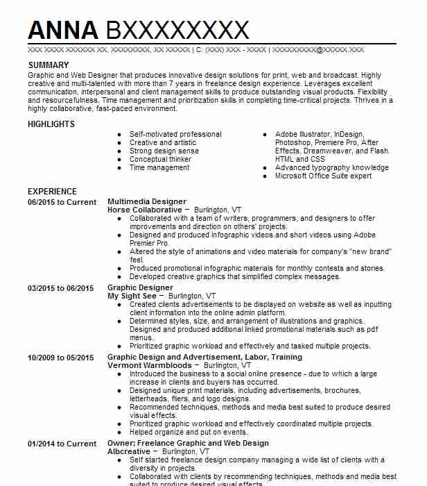 multimedia designer resume sample