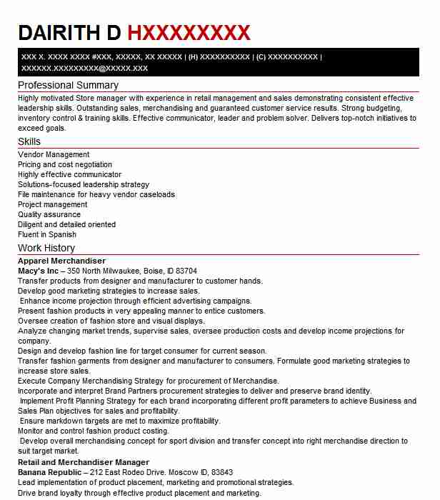 Apparel Merchandiser Resume Sample Merchandiser Resumes Livecareer