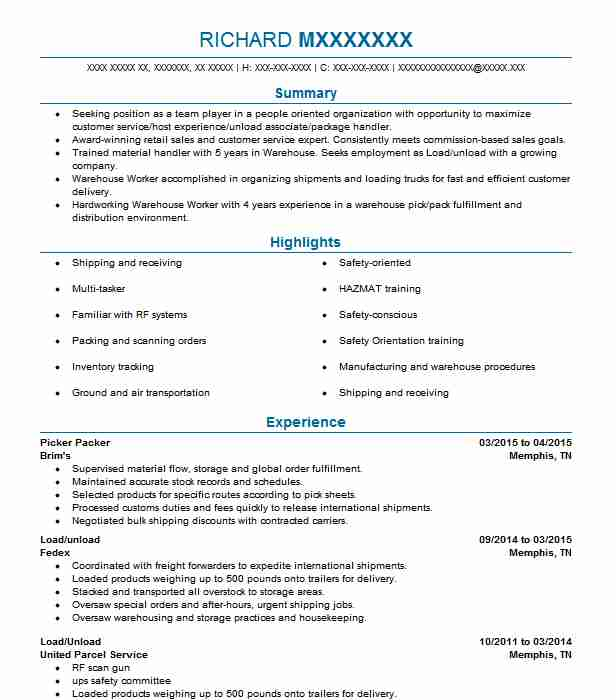 best picker and packer resume example