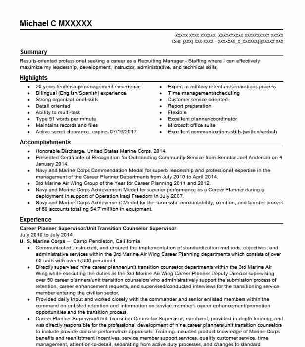sfl tap transition career counselor ii resume example