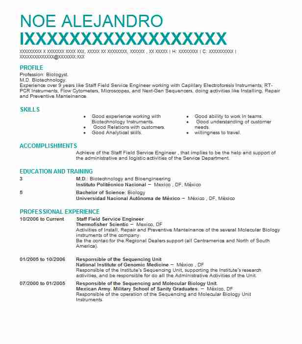6 Biotechnology (Engineering) Resume Examples in South Dakota ...