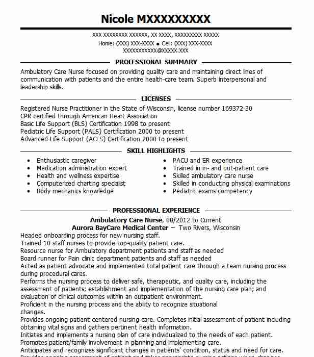 Ambulatory Care Nurse Resume Sample | Nursing Resumes ...