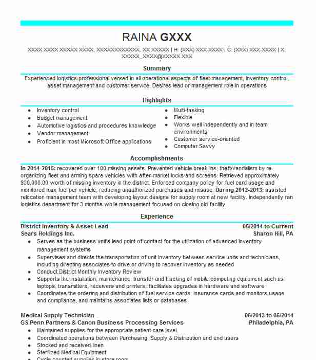 It Inventory Asset Management Analyst Resume Example Giant