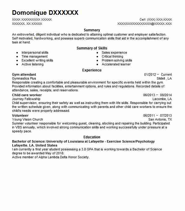 Gym Attendant Resume Sample | Attendant Resumes | LiveCareer