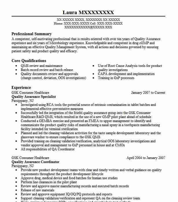 Quality Assurance Specialist Resume Example Livecareer