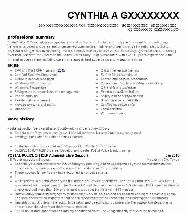 Federal Postal Police Officer Resume Example United States