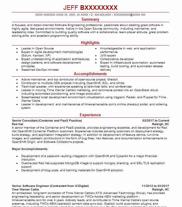 Senior Consultant (Container And PaaS Practice)  Objective Summary For Resume