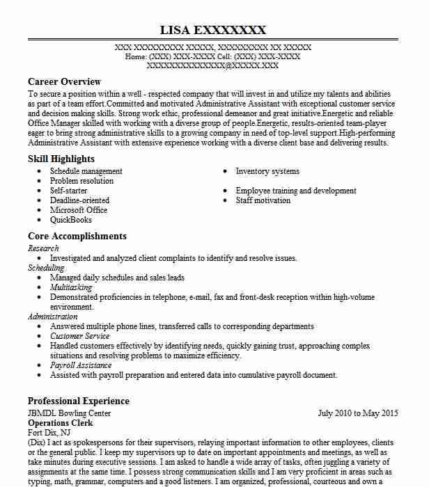 operations clerk resume example mwr ft eustis auto hobby