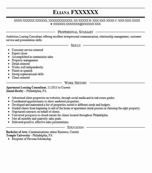 apartment leasing consultant resume sample