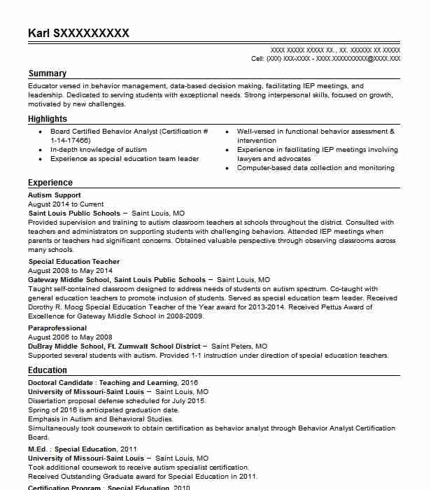 autism support resume sample