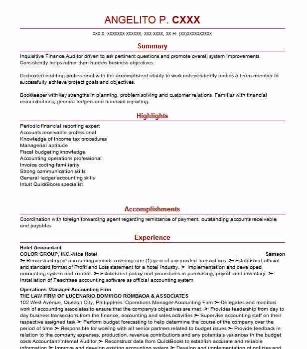 Hotel Accountant Resume Sample Resumes Livecareer