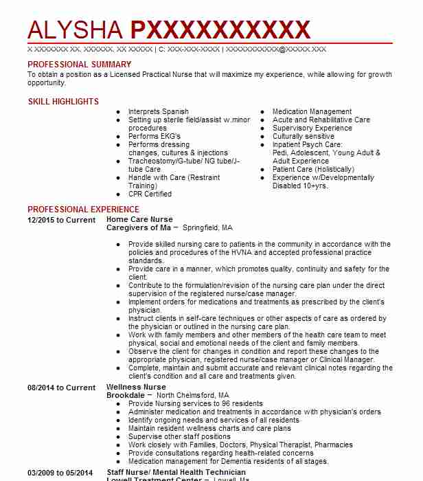 home care nurse resume sample