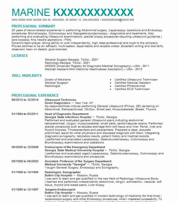 best ultrasound technician resume example