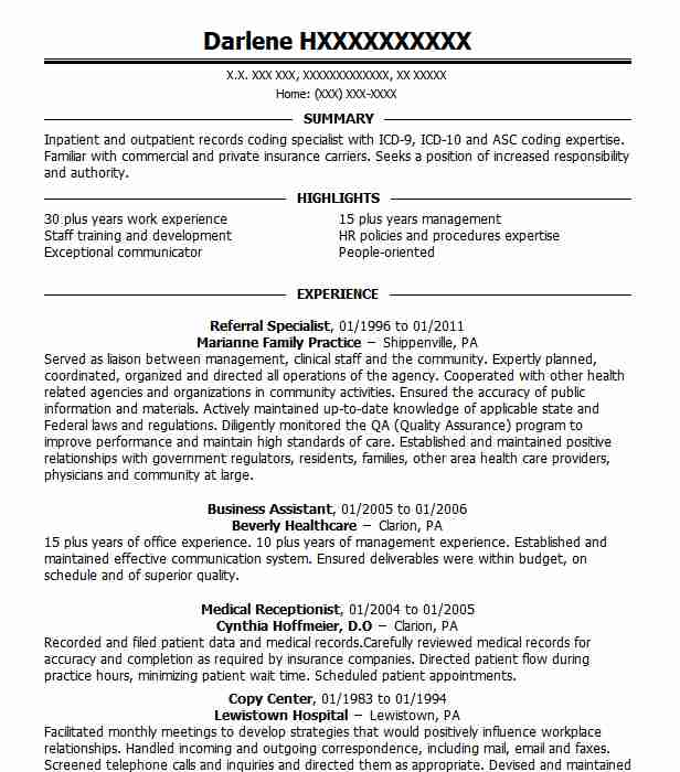Referral Specialist Resume Sample Specialist Resumes