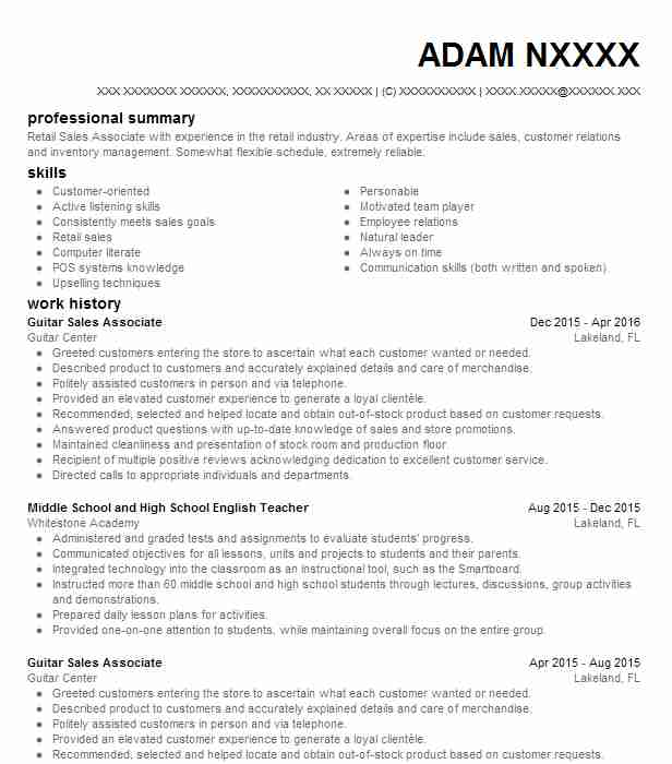 guitar teacher resume example self employed