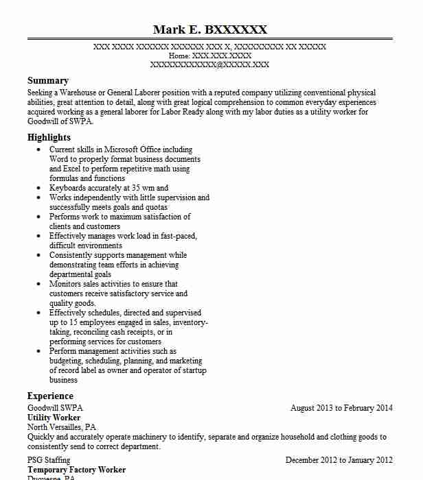 utility worker resume sample