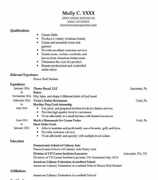 baker resume sample