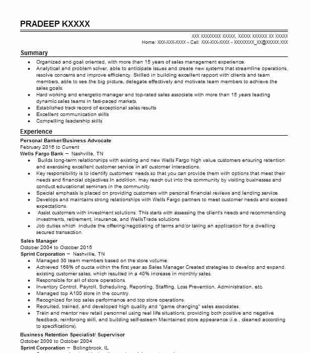 Business Banker  Direct Sales Resume