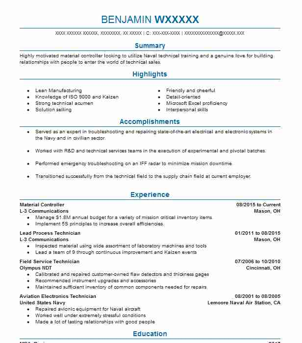 Material Controller Objectives Resume Objective Livecareer