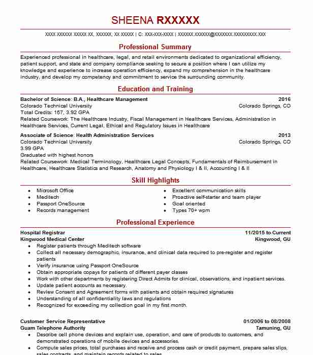 Hospital Registrar Resume Sample | Registrar Resumes ...